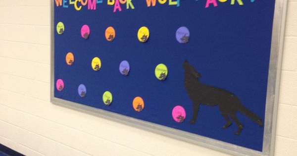 Summer Classroom Decorations ~ Back to school bulletin board wolf mascot quot welcome