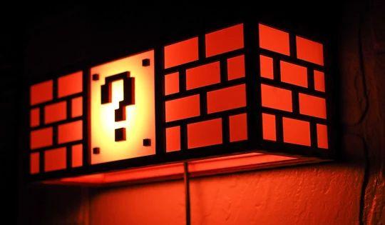 Super Mario Bros Question Block Lamp Man Cave Lighting Super