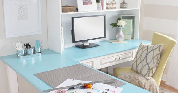 Home office and craft room - love that striped wall