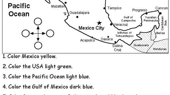 Mexico coloring activities eslthemes mexico map coloring for Mexico map coloring page
