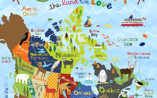 Cute canada map with animals for kids by leslie grainger - Auslandsjahr abschiedsgeschenk ...
