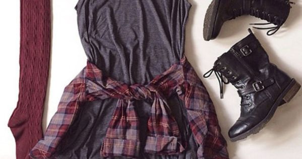 Dress: grey, combat boots, socks, plaid, burgundy, fall outfits, top, shoes, knee