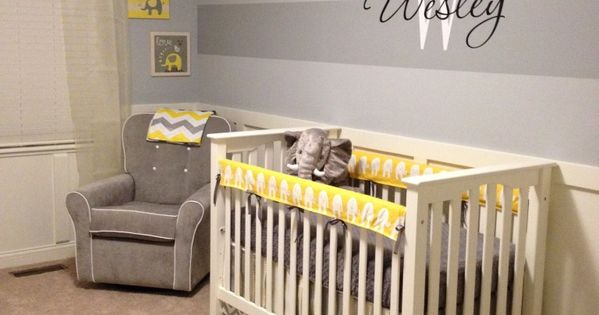 Project Nursery - Welsey's Yellow and Gray Elephant Nursery- crib and wall