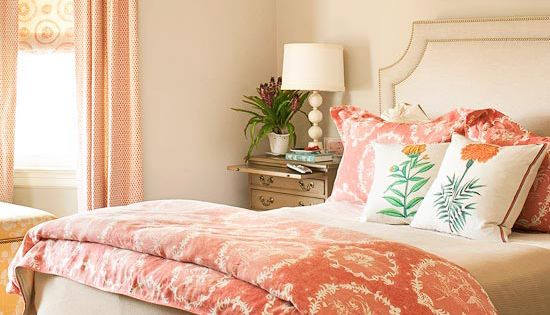 Coral and Gray Bedroom :: love! -- love the color scheme