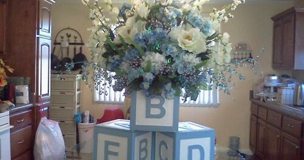 Baby boy shower centerpiece for buffet table i bought