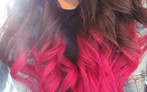 Brown hair with hot pink tips