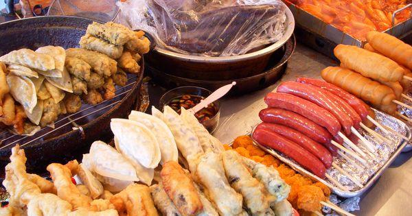 Korean street food - hot dogs, dumplings, odang, etc.