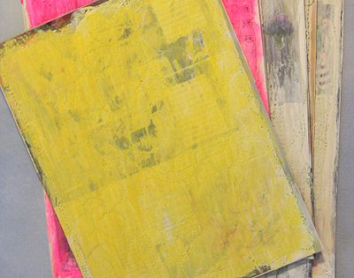 make your own canvas out of old magazine pages. A way to