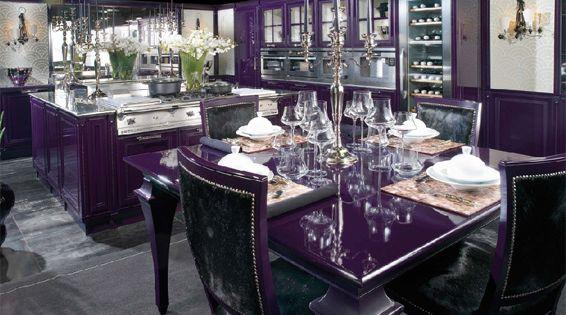 Purple and black kitchen purple kitchen interior for Black and purple kitchen ideas