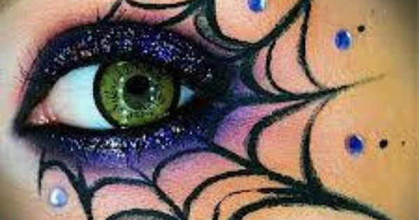 Spider web eye makeup halloween pinterest toiles - Maquillage toile d araignee ...