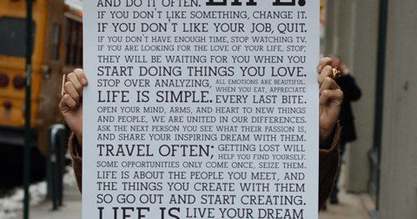 "#Holstee Manifesto : ""This is your LIFE. Do what you love, and"