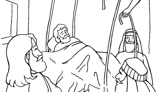 Free coloring bible pictureof jesus healing the paralized for Jesus heals a paralytic coloring page