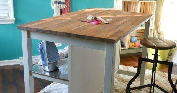 Craft room desk kitchen islands and craft desk on pinterest
