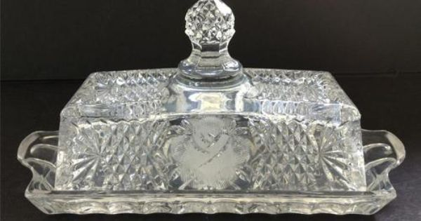 Vintage Roses Cut Crystal Covered Rectangular Butter Dish