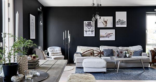 Paredes negras en todas las habitaciones paredes negras - Decoracion paredes salones ...