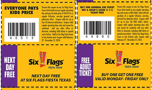 Buy 1 Get 1 Free Coupons For Six Flags December - January Tweet; Tweet; Click to Add a Coupon to this Buy 1 Get 1 Free Coupons For Six Flags Page. Comments. Vote up! Vote down! Coupon Code: COKE. Coupon Description: 5 days advance purchase, up to 26 dollars off tickets. Coupon Code: WINTER. Vote up!
