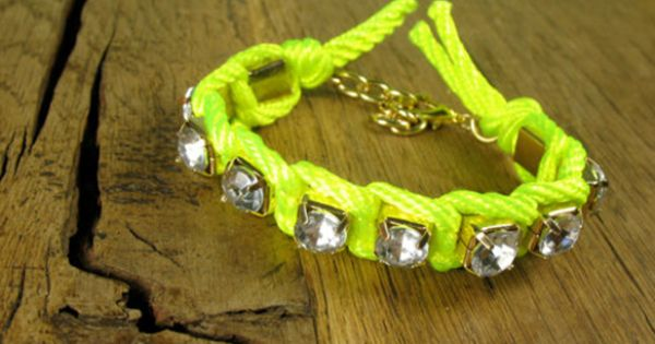 Neon Yellow Wrapped Cord & Crystal Friendship by rockspapermetal