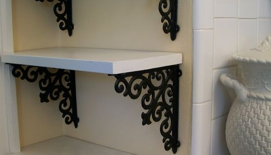 Brackets from hobby lobby and a piece of wood. DIY simple elegant