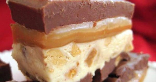 Snickers Candy Bars..cook the nougat this way and that brownie recipe will