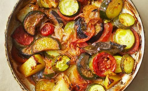 Briam: A delicious Greek vegetable bake. This popular veggie medley is traditionally
