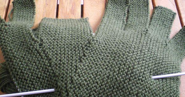 Tricot facile gants tricot s au point mousse 2 aiguilles pour adultes tricot facile - Broderie sur tricot point mousse ...