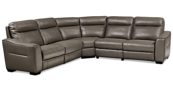 Destin Leather 5 Piece Sectional Sofa With 3 Power