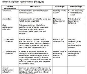 Different Types Of Reinforcement Schedules Reinforcement
