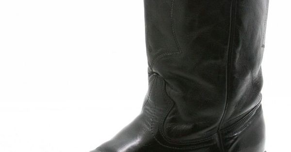 Texas Mens Cowboy Boots Size 12 Vintage Black Leather And