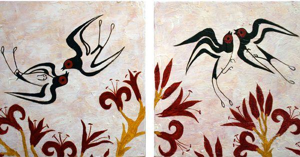 Minoan fresco showing swallows - Akrotiri, island of Santorini; this would make