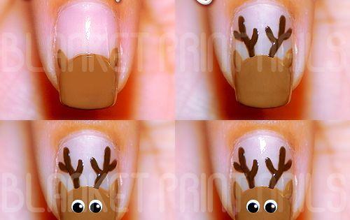 #NailArtTutorial ChristmasFingerNails ReindeerFingerNails DIYHolidayManicure