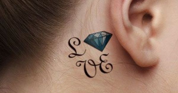 Woman With Behind The Ear Love Diamond Tattoo Small Diamond Tattoo Diamond Tattoos Diamond Tattoo Designs