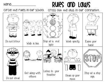 Rules And Laws Worksheet Rules And Laws Kindergarten Social Studies Social Studies Elementary