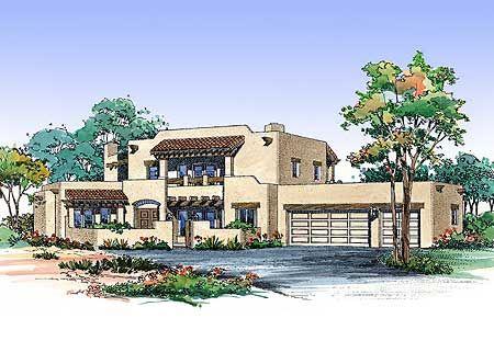 Plan 81411w Two Story Southwestern House Plan Southwest House Adobe House House Plans