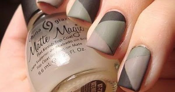 Black + Green +Tan Matte Camo Mani Mani Nails NailArt Tan Black