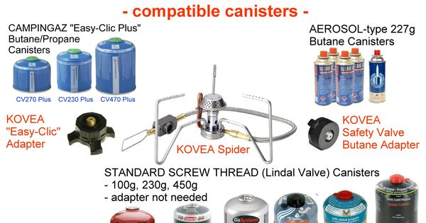 Kovea Spider Global Explorer Variant Comes With 2 Adapters To Allow You To Run The Stove On The Three Most Common Types Of Bac Camping Camping Kocher Adapter