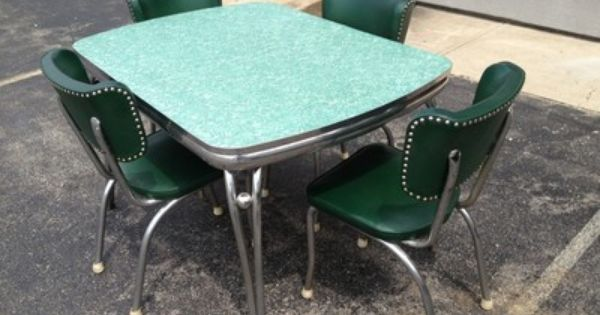 1950s Diner Dining Room Kitchen Formica Chrome Table 4