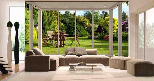d coration murale papier peint trompe l 39 oeil effet 3d extension d 39 espace jardin ensoleill. Black Bedroom Furniture Sets. Home Design Ideas
