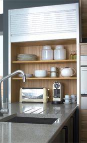 Tambour Dresser Unit With Aluminium Effect Roller Shutter Kitchen Units Modern Kitchen Stylish Kitchen