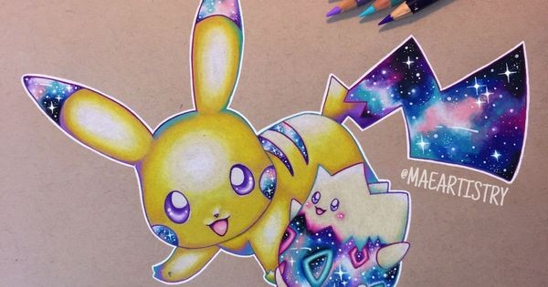 Here S A Pikachu Togepi Galaxy Drawing I Did ‣ Instagram Com Maeartistry Pokemon