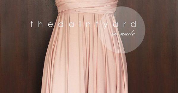 Short Straight Hem Nude Pink Bridesmaid Convertible Dress Infinity Dress Multiway Dress