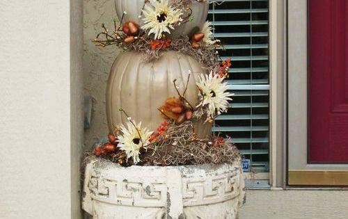 White pumpkin topiary. Fall - Autumn front door decor.