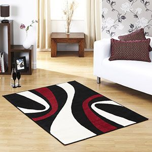 Red Black White Rug With Images