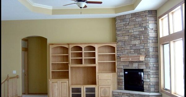 Rock Fireplace With Rock Under Entertainment System 11 Ft Gr Ceiling Custom Entertainment