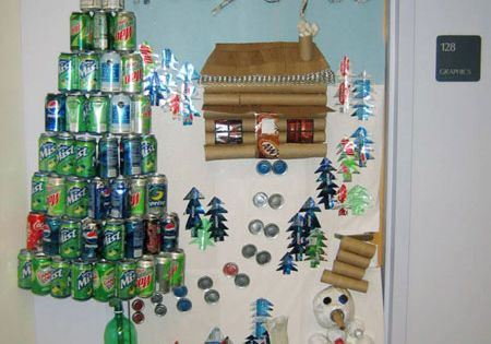 Christmas Holiday Recycled Door Display Bulletin Board Idea