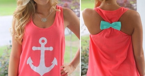 Coral anchor tank. Racer back tank top with bow. Cute summer clothes!