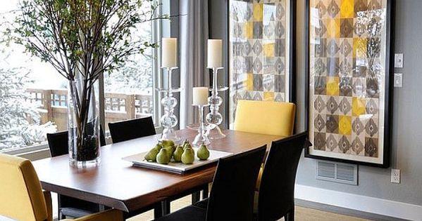 duo de couleurs tendance le gris et le jaune dans la salle manger gris manger et salle. Black Bedroom Furniture Sets. Home Design Ideas