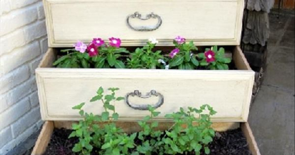 Old drawers flower pots