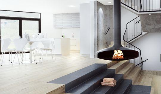 Modern Scandinavian Fireplace: Modern Country House, Floating