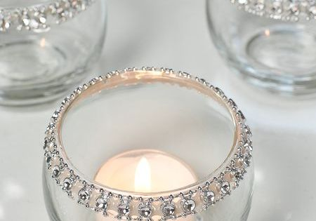 DIY Rhinestone Candle Holders - buy rhinestones from Michael's or Hobby Lobby,