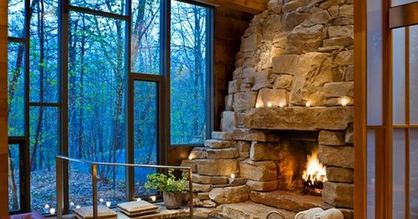 Indoor fireplace and hot tub decor design